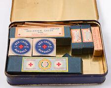 1950's Johnson & Johnson First Aid Kit tin No. 16 box Mercurochrome Glass bottle