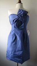 NWT Womens J. CREW Periwinkle Blue Silk Taffeta Bow Monde Party Dress ~ Size 8