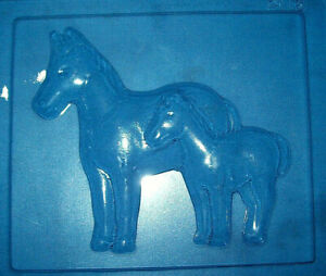 LARGE RECTANGLE WITH A HORSE AND FOAL CHOCOLATE MOULD OR PLASTER MOULD