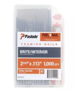 "PASLODE 650523 Fuel/Framing Nails 1000 QTY Ring Shank 30 Degree Full Head 2-3/8"""