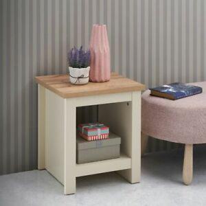 Side Lamp Table Cream Bedside Cabinet Nightstand Open Storage Shelf Oak Wood Top