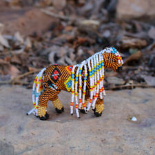Zuni-Beaded Brown Horse by Denise & Faron Gchachu-Native American Beadwork
