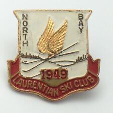 Laurentian Ski Club Ski Hill North Bay Ontario 1949 Red Banner Pin G109