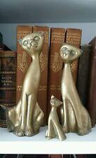 Vintage Brass Cat Figures - Mid Century Modern- Siamese