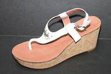 Womens Lucky Brand Narnie Cork White Leather Wedge Sandals Sz 9.5m NWOB $79