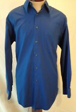 ALFANI Easy Care Blue Long-Sleeve Button-Up Shirt Size L