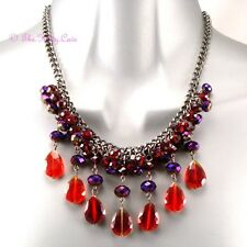 Burlesque Bohemian Nouveau Baroque Gothic Red Czech Glass Chandelier Necklace