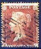 GB QV 1855 1d. Red Plate Plate 9 TC Die II Alph II  Wmk SC Perf 16 SG C4 [1] VFU