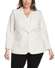 Vince Camuto Womens Blazer Ivory Size 16W Plus Frayed-Trim Striped $154- 233