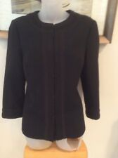 TORY BURCH Womens Classic Black Jacket Embroidered accents Size 10 EUC