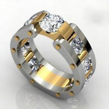 Fashion Women 925 Silver White Sapphire Wedding Band Plated Gold Ring Size 6-10