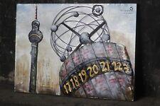 """Metallbild """"Berliner Weltzeituhr""""3D Fernsehturm Wandbild Handarbeit NEU!"""