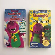 Barney VHS Tapes Barney's Best Manners and Waiting For Santa Lot of 2 Videos