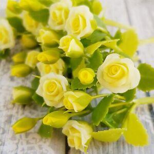Dollhouse Miniatures Clay Flower Rose Light Yellow Fairy Garden Decor Supply Lot