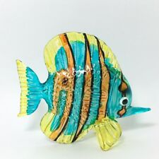 Animal Hand Blown Glass Sea blue Fish Figurine Handcrafted 3 ""