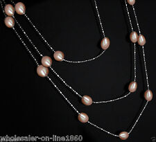 """metal chain necklace 46""""long fashion jewelry New Hot Pretty Pink Akoya pearl"""