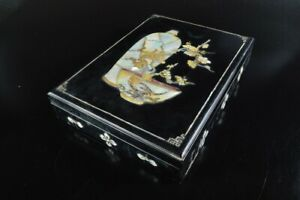 Q1861 : XF Korean Wooden Lacquer ware Flower CONTAINER Accessories Case Box