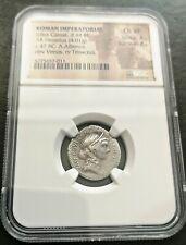 Roman Republic NGC ChVF Silver Denarius 47 BC JULIUS CAESAR Dictator ALLIENUS