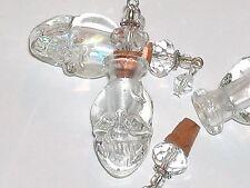 Glass Skull BOTTLE Vampire Witch skull charm Lampwork cork Halloween pendant NW*