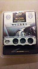 Car Cigarette Lighter Triple Socket Port + USB Car Charger Adapter 12v - 24v