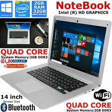 "Slim 14"" Notebook Laptop Intel Quad Core 1.92Ghz 32GB eMMC HD 2GB Ram Windows 10"