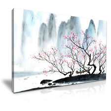 Landscape Mountain Trees Blossom Painting Canvas Wall Art Picture Print 76x50cm