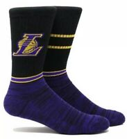 Los Angeles Lakers Parkway Socks Crew New Nba Basketball Men's 6-12 Black