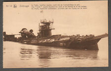 unmailed post card Zeebrugge The Thetis English torpedo boat sunk at harbor WWI