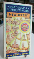 1953 SUNOCO NEW JERSEY Road Map Gas Station Map, Sun Oil Co Advertising map