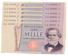 1000 MILLE LIRE Italy - 6 BANKNOTES 1969 - LOOK AT SERIAL NUMBERS!!! - XF-aUNC