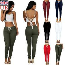 Womens High Waist Cargo Pants Jogger Ladies Skinny Slim Fit Trousers Sweatpants