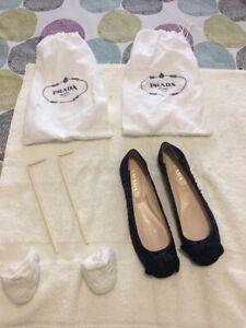 Prada Ladies Shoes 36 Brand New 1F281C Raso Silk Blue