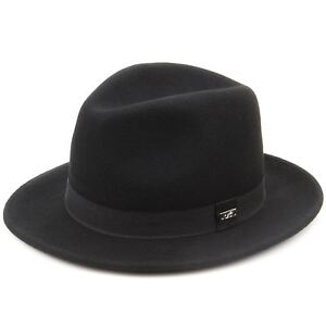 Fedora Hat Trilby Black Hawkins Cap Wool Felt Ladies Men Band Brim