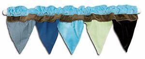 NoJo  AHOY MATE  Window Nursery Valance Pendant Flags Pirate Blue Brown Kids NEW