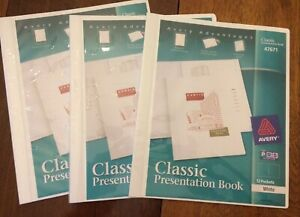 Set Of 3 Avery Classic Presentation Books, White, 12 Pockets Each - New, (47671)
