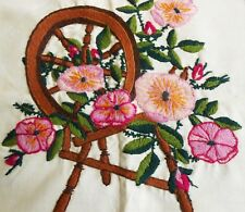 New listing Crewel Embroidery Pillow Cover Spinning Wheel Wild Roses 1975 Completed Avon Kit