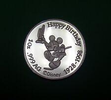 Mickey Mouse, Disney .999 Silver,1 oz Medallion, 1928 - 1998 70th Birthday Coin