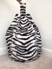 Cover only Bean bag black & white faux fur childs 3 cubic feet zebra print New