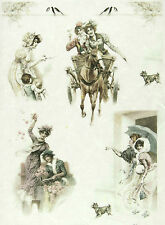 Rice paper -Women on Horseback- for Decoupage Scrapbooking Sheets