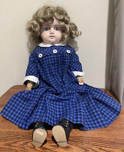 "Antique Baby Doll Composition, Body Straw Stuffed, Beautiful Eyes, 27"" TLC"