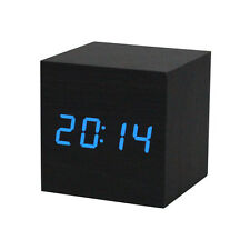 Digital LED Black Wooden Wood Desk Alarm Brown Clock Voice Control Blue Clock