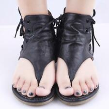 Women Gladiator Lace Up Knee Thong Flats Sandals Gladiator Flip Flops Shoes B