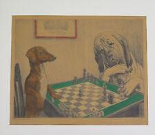 Ferdinand MICHL (1877-1951) -Orig. Radierung von Schachspielenden Hunden um 1900