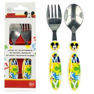 Besteck-Set Mickey Mouse | Micky Maus | 2-teilig | Kinder Gabel und Löffel