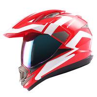 Dual Sport Helmet Motorcycle Full Face Motocross MX ATV Dirt Bike DOT Red White