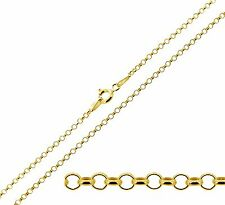 "18ct Gold Plated Sterling Silver 16 18 20 22 24"" inch 2mm Belcher Chain Necklace"