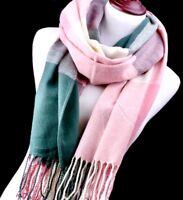 Grande Echarpe-Foulard France,Cachemire+Laine,Homme,Carreaux Rose,Blanc,VertMode