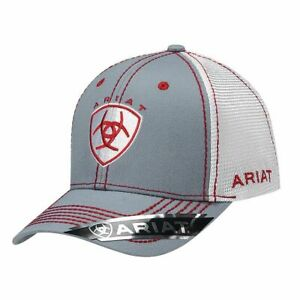 Ariat Mens Grey with Red and White Accent Baseball Cap Hat