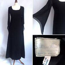 Vintage 1960s Peterson Maid Black Long Dress Size 6 8 Goth Whitby Poet Sleeves