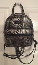 BCBG Paris Main Street Petite Backpack Silver Snake Skin With Chain NWT